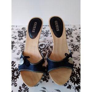 [ Guess ] Wooden Denim Heels Size 9m